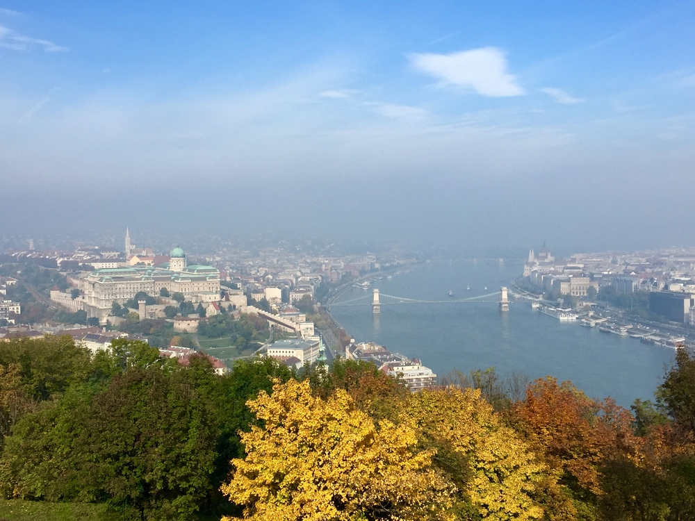 Budapest from above (a bit hazy). Buda is on the left, Pest is on the right