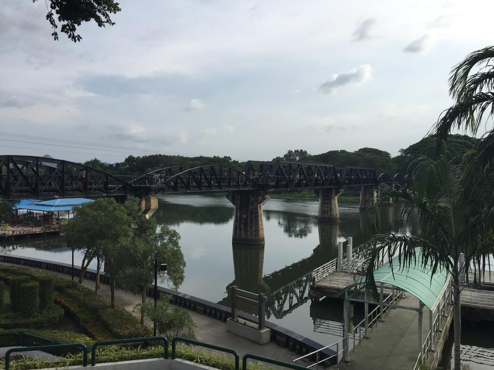 The bridge crossing of the Death Railway in Kanchanaburi