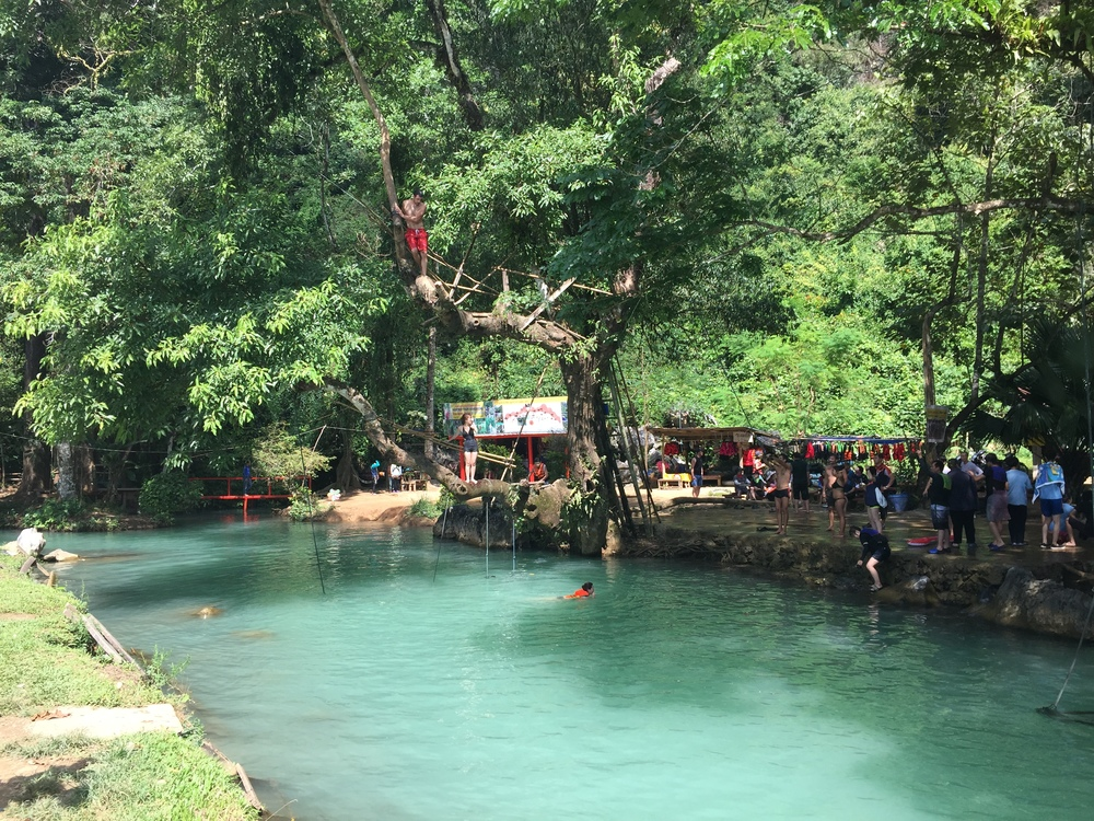 The Blue Lagoon outside of Vang Vieng