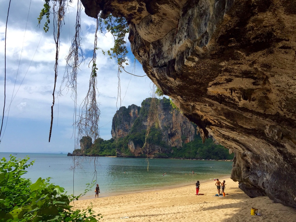 View of Tonsai Beach from underneath a climbing overhang