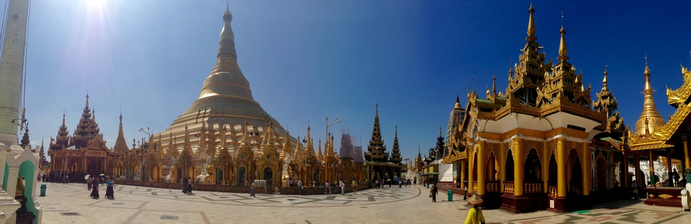 Pano of the Shwedagon Pagoda, the largest holy site in Myanmar