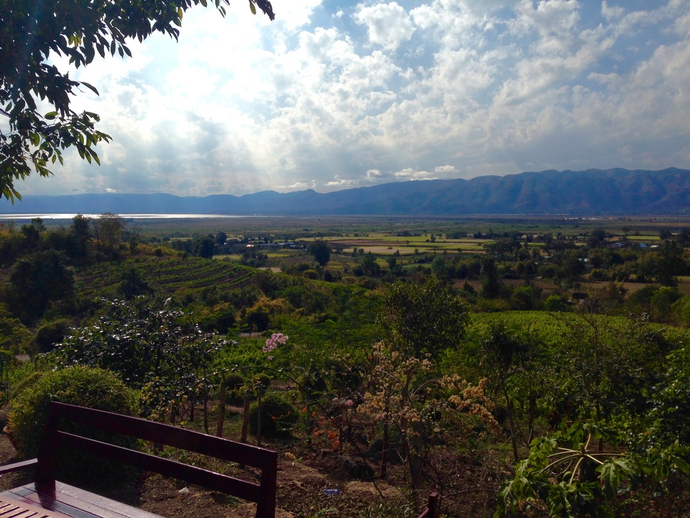 View of Inle Lake and the surrounding region from the winery