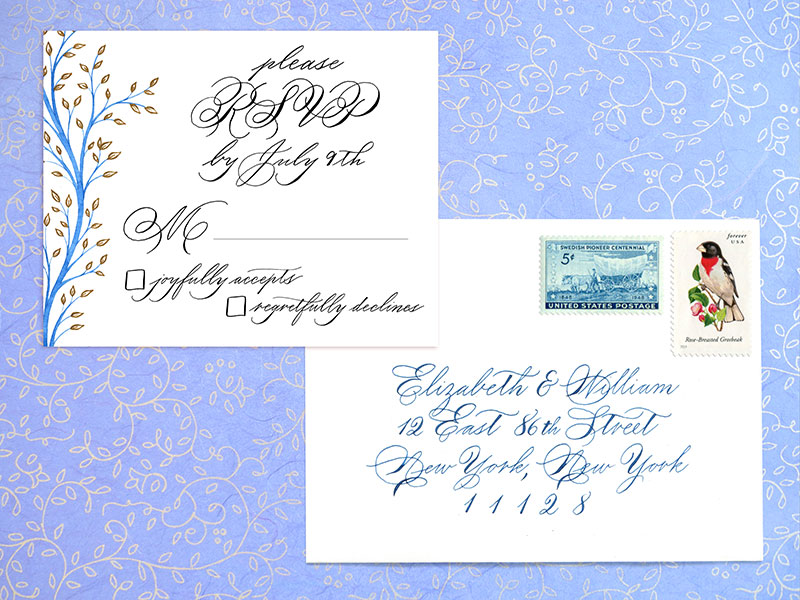 RSVP and A2 envelope   For design and digital printing of 100 cards $300.  Envelop addressing: Outer envelope $4 per envelope, return address $3 per envelope   - Please contact me for details