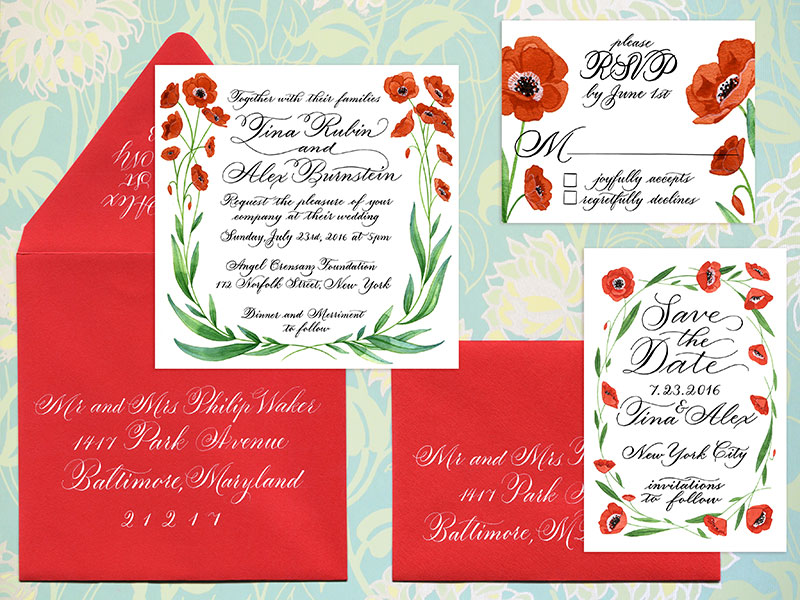 Poppy Invitation Suite — LettersByAnat