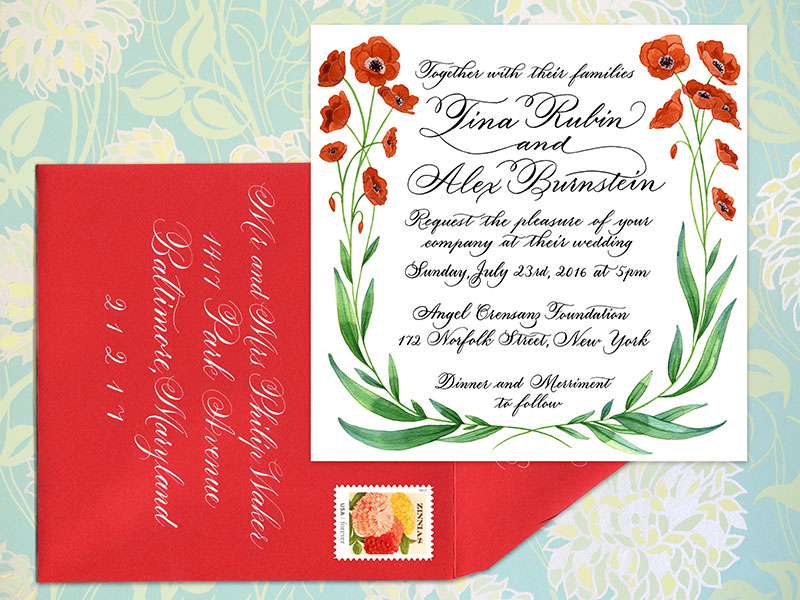 Invitation and A7 envelope   For design and digital printing of 100 cards $600.  Envelop addressing: Outer envelope $4 per envelope, return address $3 per envelope   - Please contact me for details