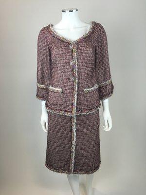 66af9909aa7 Chanel Dubai Burgundy Lesage Tweed Skirt Suit ...