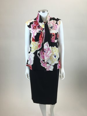 efb540f1a Chanel Black Floral Top with Scarf ...