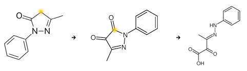 Edaravone ->5-methyl-2-phenylpyrazole-3,4-dione->2-oxo-3-(phenylhydrazinylidene)butanoic acid