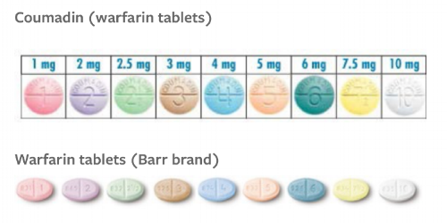 Brand and generic are the same color. Finally, consistency in the world of warfarin!  (Image)
