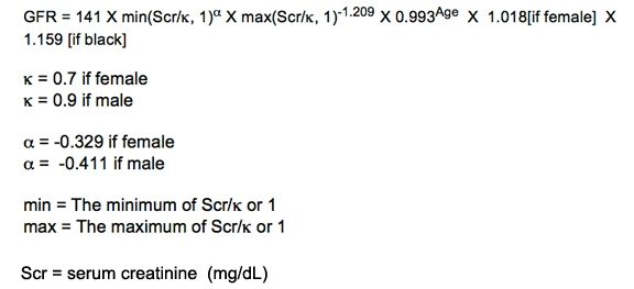 The CKD-EPI equation used for GFR estimation in KDIGO 2012 CKD guidelines.  (Image)