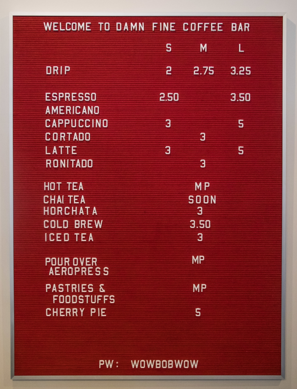 Just an FYI - this menu is not an accurate depiction of our offering.  It's just a photo of our menu board.