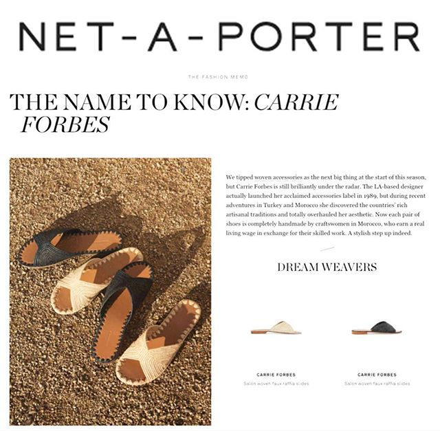 @netaporter on the unique detail and style of our signature slides!  Each shoe handmade from scratch by beautiful Moroccan craftswomen in a 7 hour process.  Use the link in our bio to shop the styles on our website or on @netaporter !