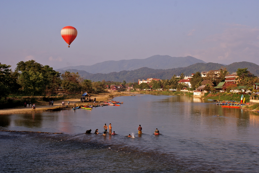 The Nam Song river in Vang Vieng, Laos.