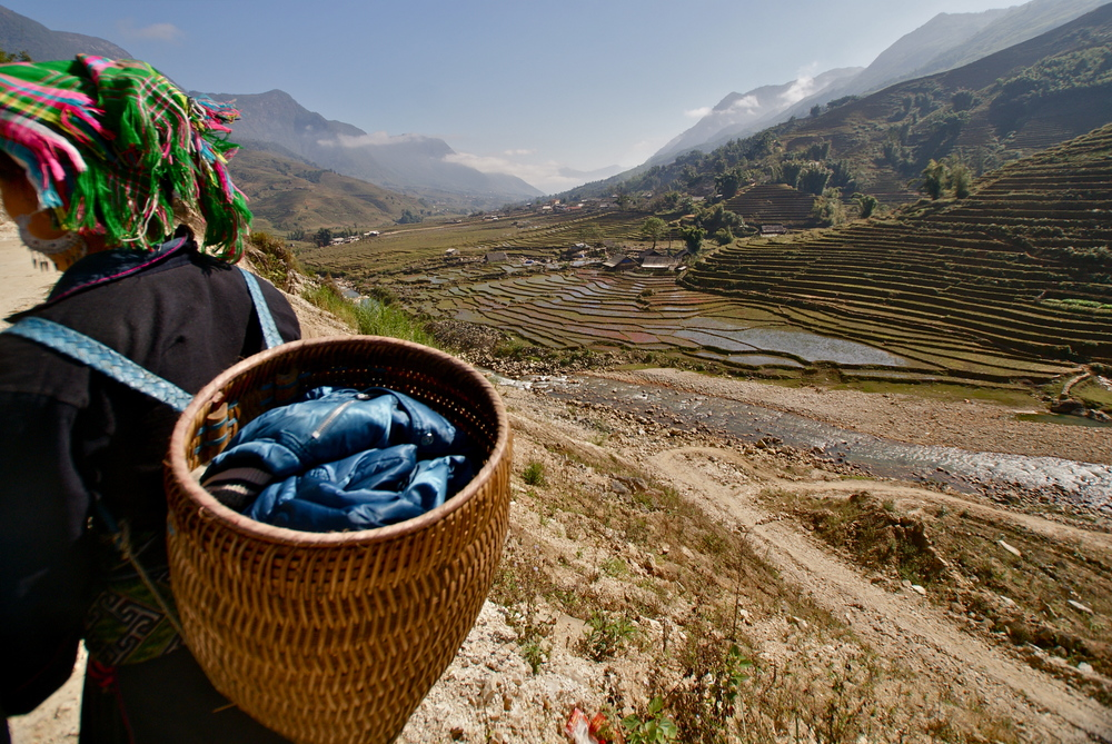 A Hmong woman walking in the valley of rice terraces of Sapa, Vietnam.