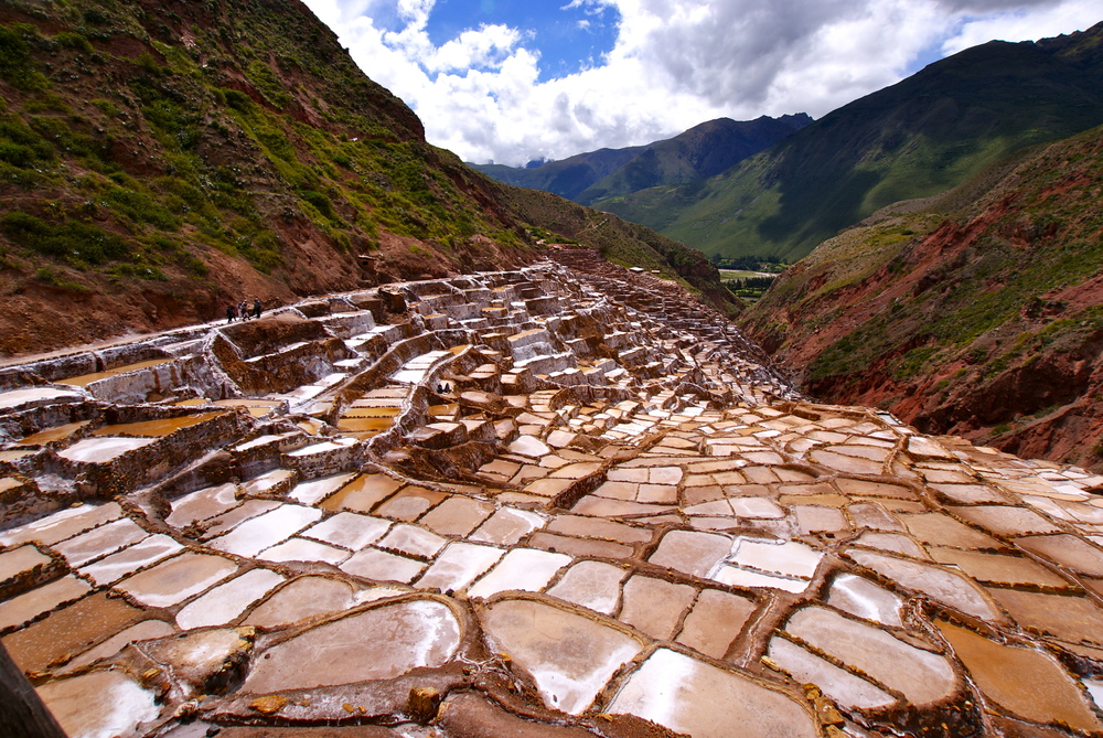 The salt mines of Maras, in Sacred Valley, Peru.
