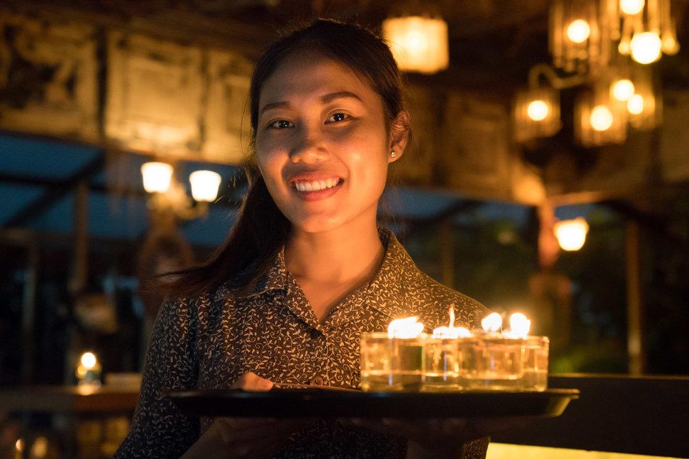 A waitress in Ubud, Indonesia.