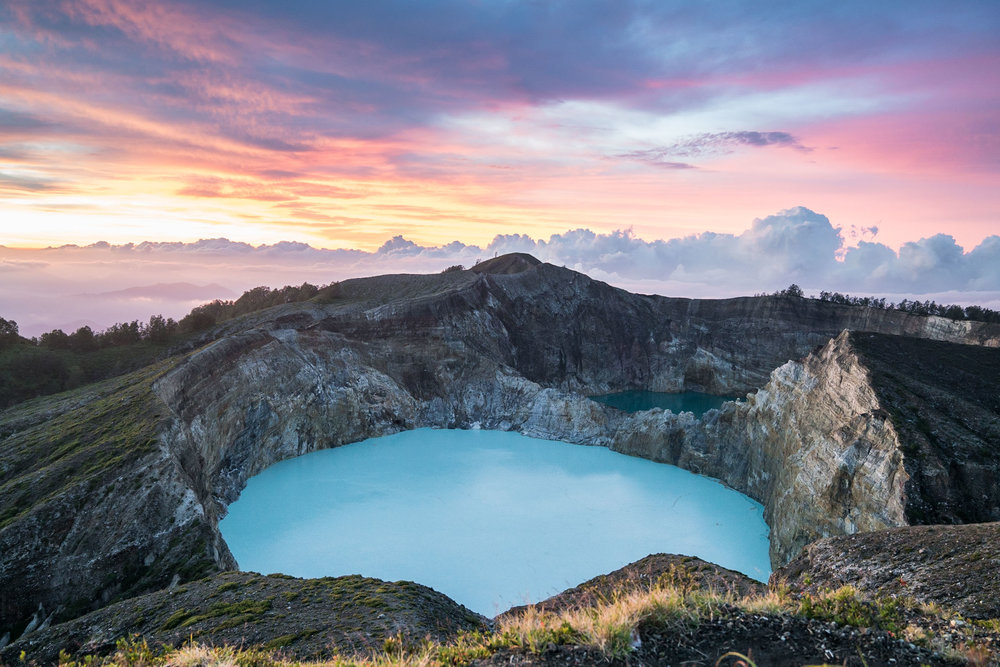 Mt. Kelimutu at sunrise, Moni, Flores, Indonesia.