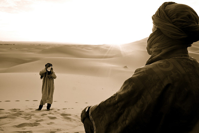 Bedouin - The first photograph I ever sold. One of two purchased at my first art show. Image shot in the Sahara Desert, Morocco.  Click here to see more international portraits.