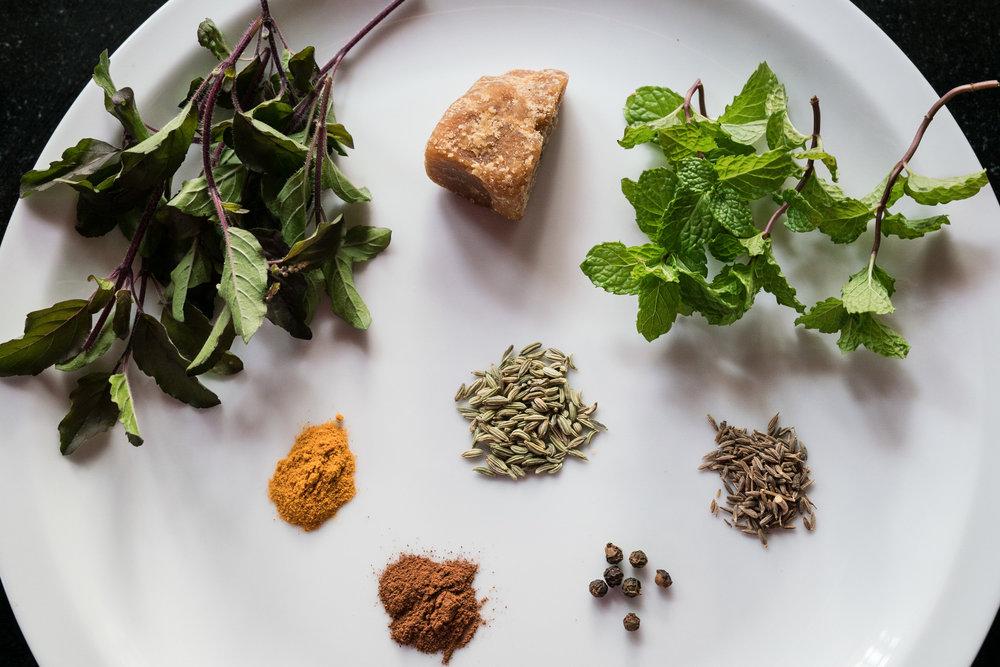 Fresh herbal tea ingredients,Kerala, India