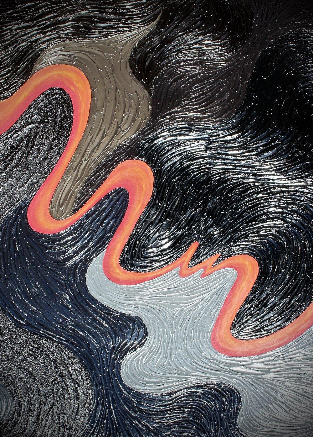 "Acrylics, Gels, Mixed Media On Canvas  50""W X 70""H X 2.75""D"
