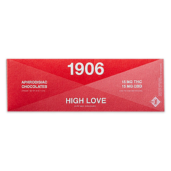 "1906 High Love Chocolate - HIGH LOVE is an aphrodisiac that will make your bed levitate. Contains Blue Dream cannabis and five plant medicines for sensuality, including Damiana to curb inhibition, Catuaba to increase sexual desire, theobromine for energy, Ashwagandha to reduce stress and boost libido, and Muira Puama, known as the ""Viagra of the Amazon."" (You can imagine what that does.)LEARN MORE"