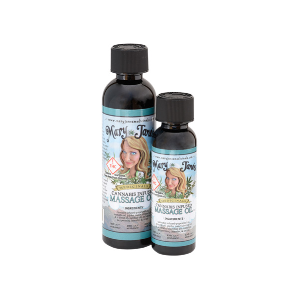 "Mary Jane's Massage Oil - Our massage oil has a lovely smooth texture that absorbs easily into the skin. It is very popular among massage therapists for this reason. The cannabinoids in the oil interact with receptors in the peripheral nervous system to promote systemic relaxation and relief for aches, pains and tightness, also making for a more therapeutic massage. You'll LOVE the ""Ganjassage.""LEARN MORE"