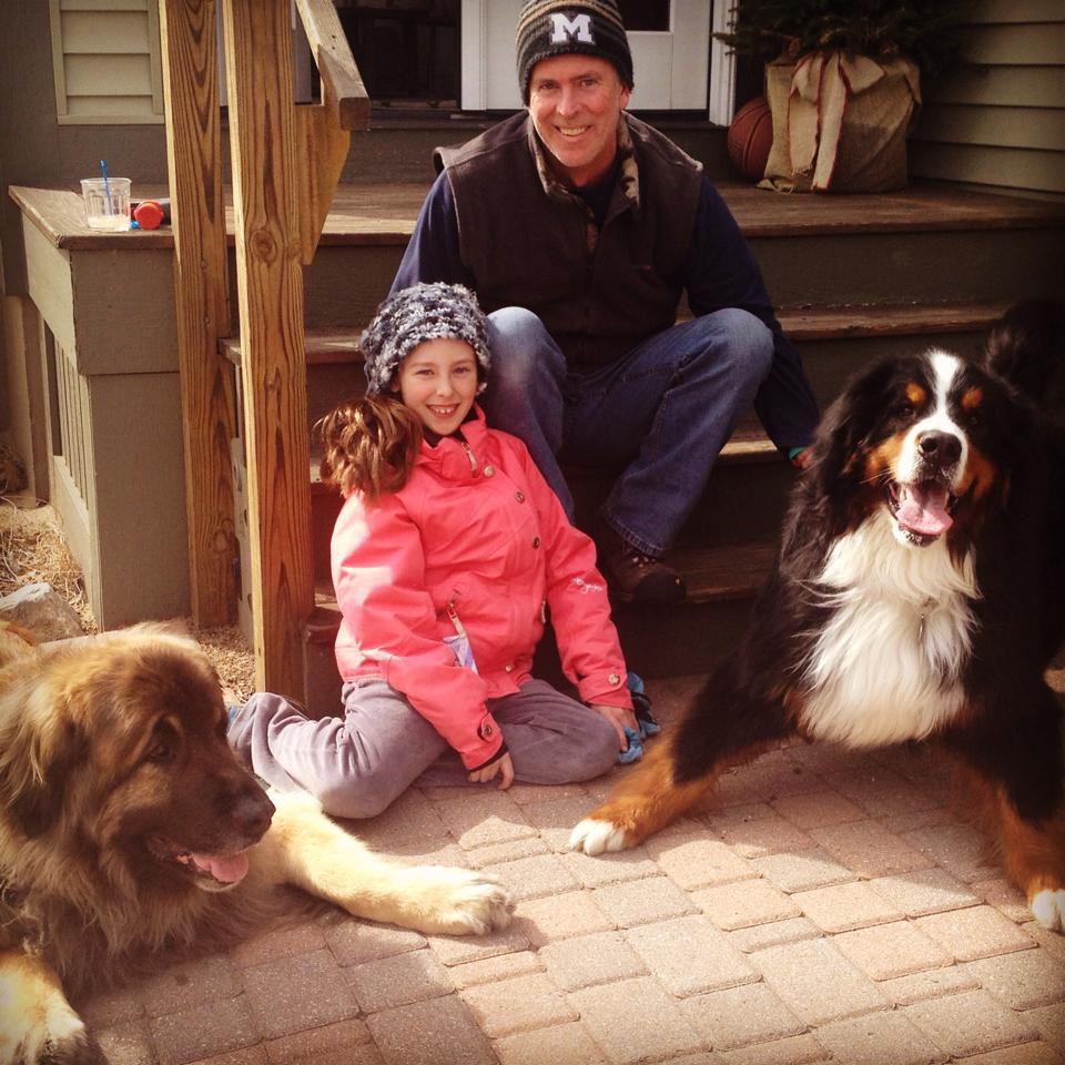 Dr. Conor & Oona with their fur ball friends Finian & George.