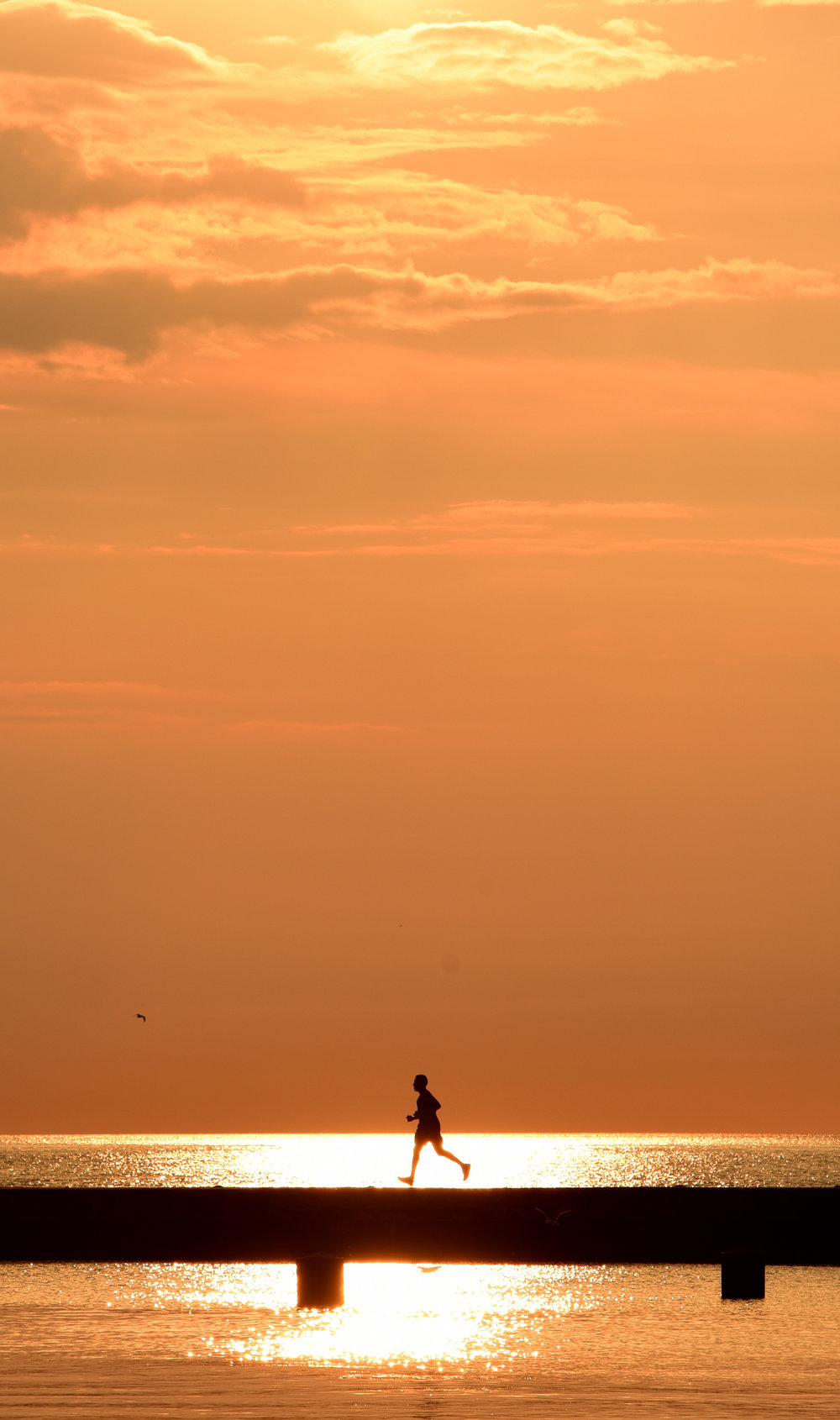 An early morning runner is silhouetted by the rising sun along Lake Michigan, Tuesday, Aug. 1, 2017 in Chicago. (AP Photo/G-Jun Yam)