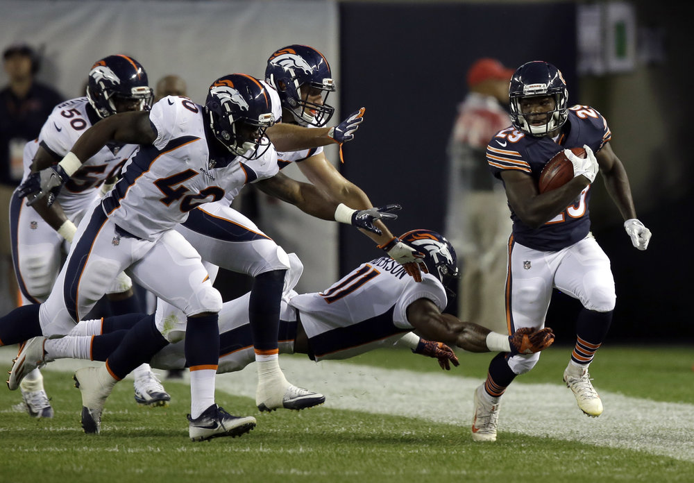 Chicago Bears running back Tarik Cohen (29) during the first half of an NFL preseason football game against the Denver Broncos, Thursday, Aug. 10, 2017, in Chicago. (AP Photo/G-Jun Yam)