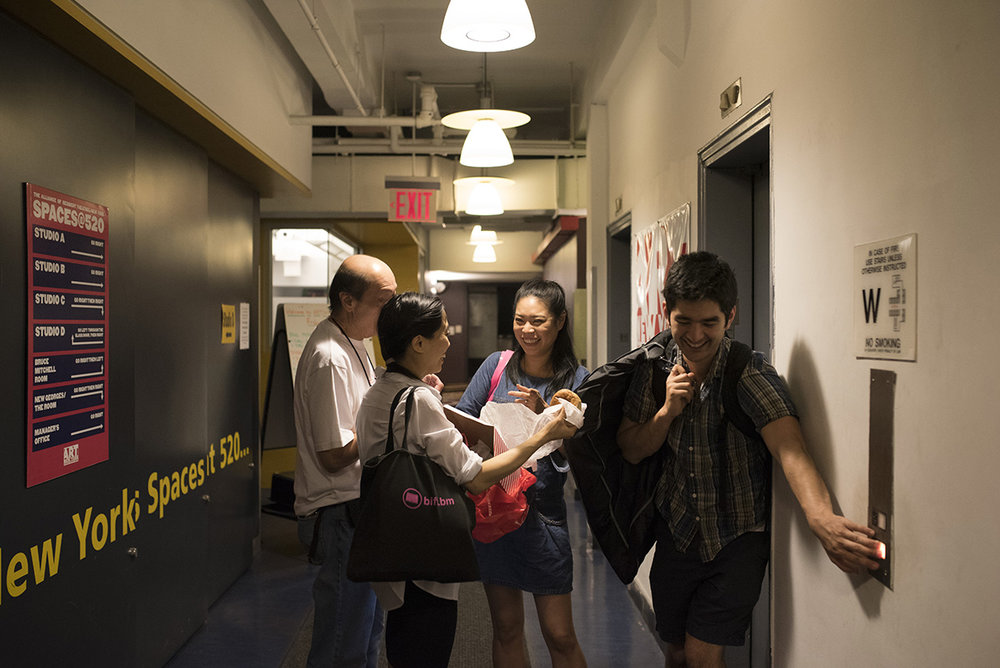 """Ms. Chang and fellow actors after a five-hour rehearsal for """"Lost in Shanghai"""" before its run at the Pan Asian Repertory Theater.G-JunYam/NYTInstitute"""