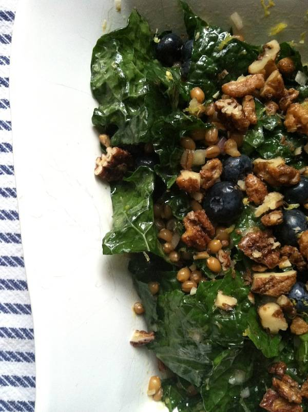 Lemony Kale Blueberry Wheat Berry salad