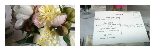 Peonies and menu