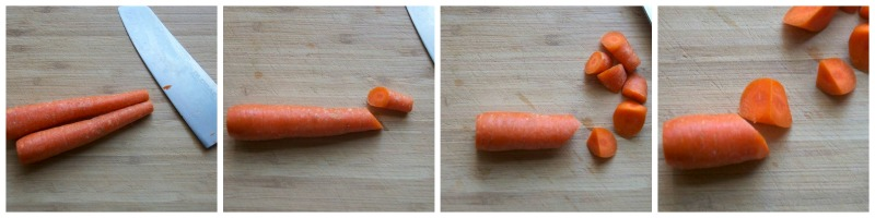 Obique cut carrots