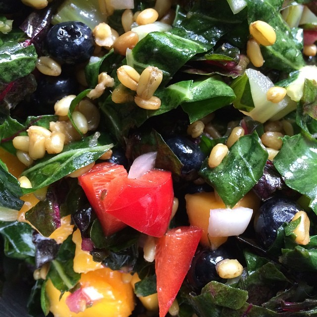 GGF salad Grains, Freekeh: Greens, Rainbow Chard; Fruit, Blueberries.