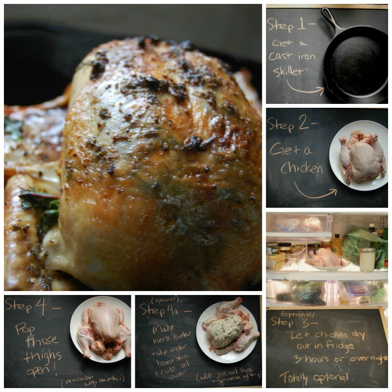 Five steps to roasted chicken