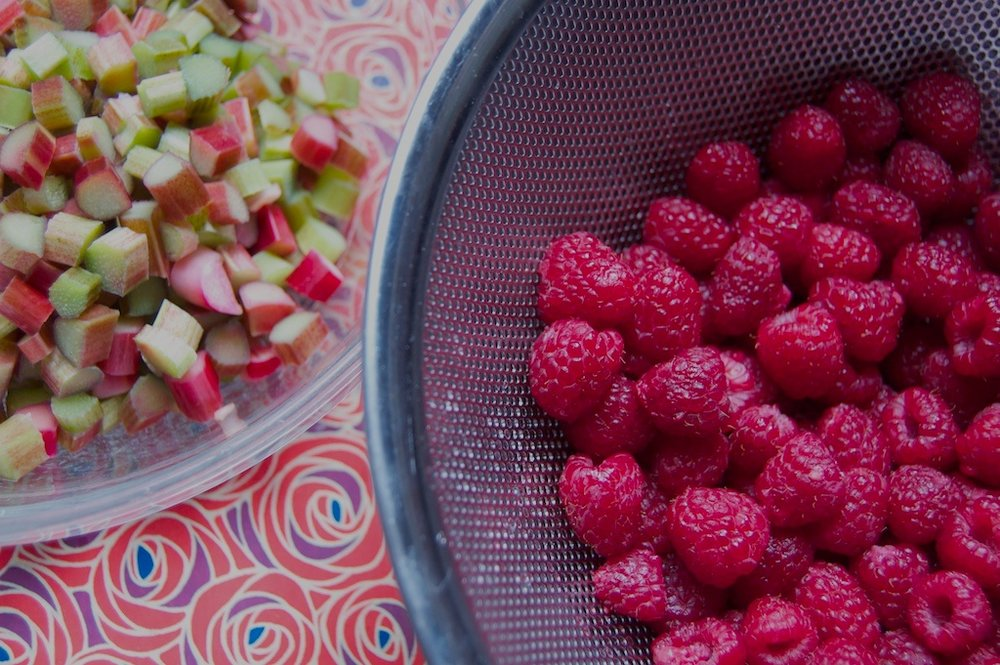 Rhubarb and raspberry