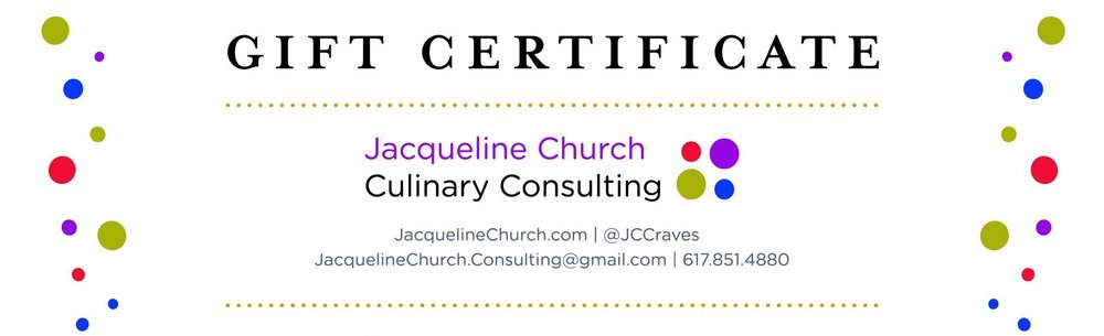 Give the gift of a Jacqueline Church private cooking class gift certificate!