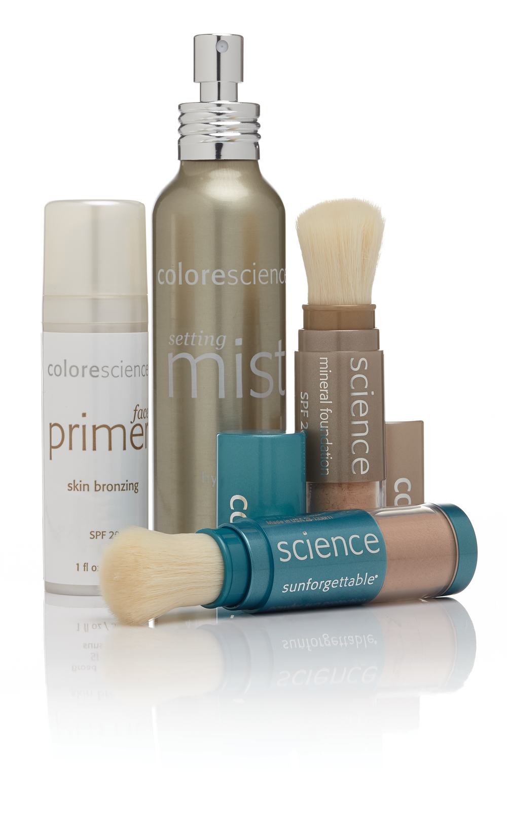CORE FOUR™ The Colorescience Core Four regimen fuses pure minerals and makeup ingredients that conceal and perfect specific skin concerns, camouflage and cover while offering high levels of sun protection (SPF 20/30/50). Formulated with high-integrity minerals and efficacious ingredients, the Core Four features essential layers to prime, correct, set and finish.