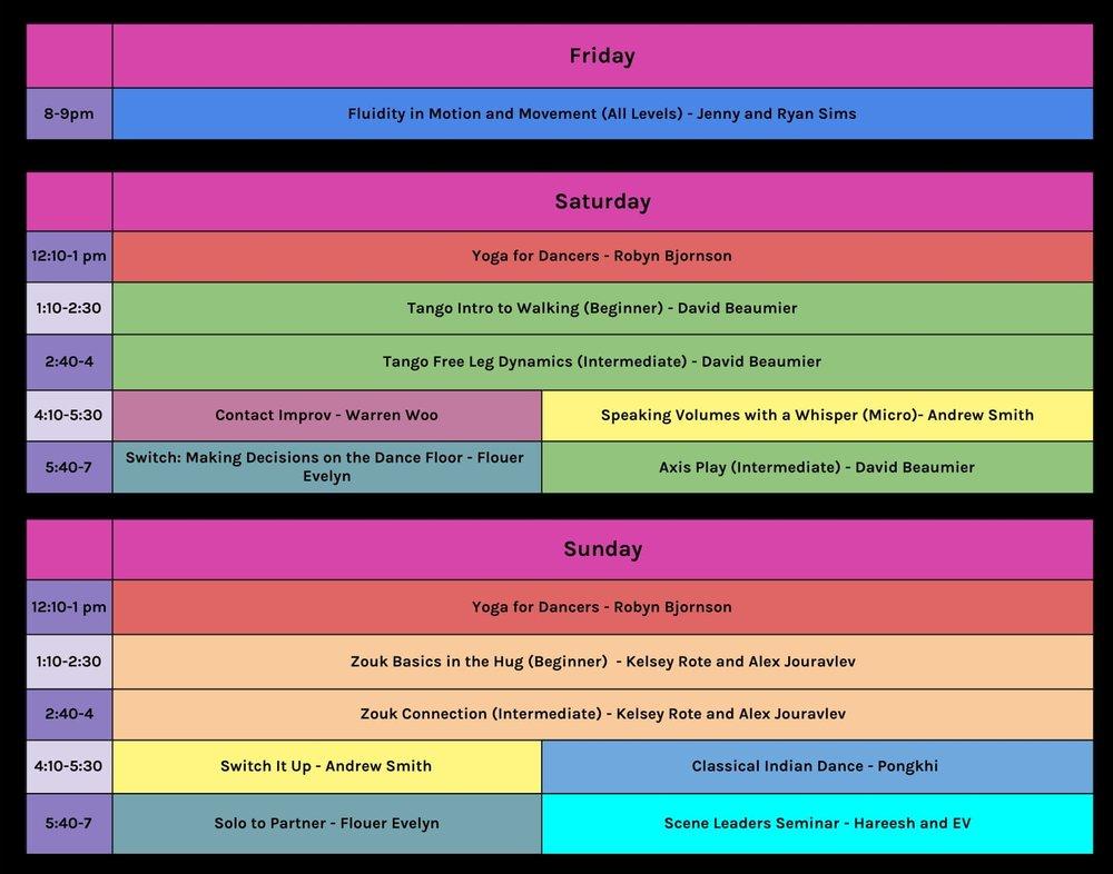 SFF Workshop Schedule - Sans descriptions