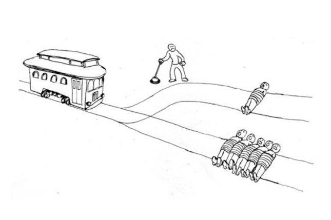 "The infamous ""Trolley Problem"" first introduced by Philippa Foot.  What do you do?"