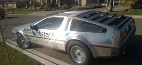Got our sponsors' logos on the DeLorean!