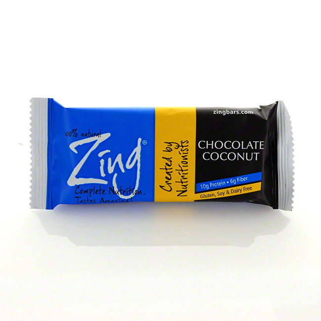 4.  Zing Chocolate Coconut Single Bar   Calories: 210  Fiber: 6g Protein: 10g Sugar: 13g