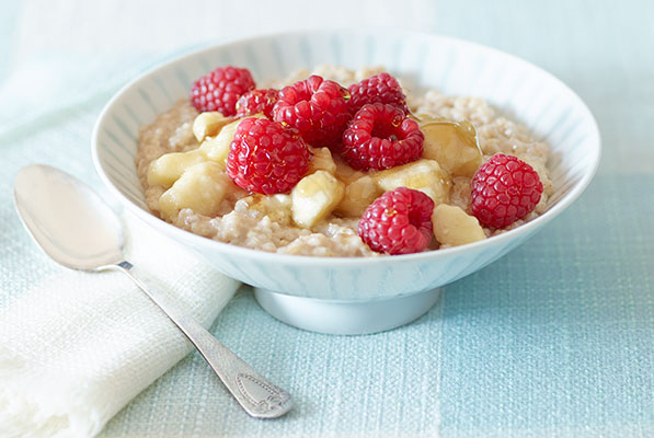 4.  Small bowl of plain oatmeal topped with fresh berries
