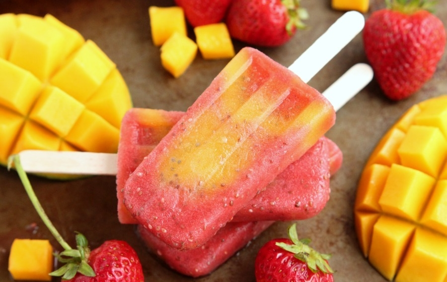 1.  Strawberry Mango Chia Popsicles Recipe.   See recipe here.