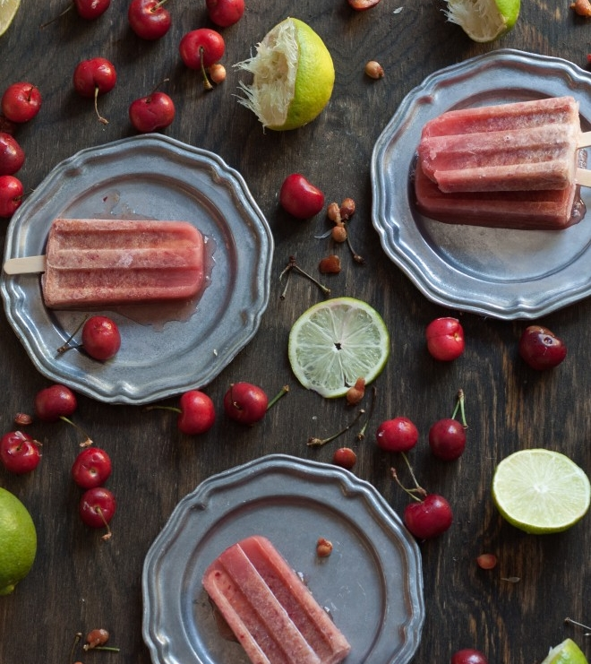 4.  Cherry Lime Popsicles with Honey .  See recipe here.