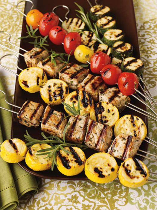 1. Pork and Veggie Skewers. See recipe here.
