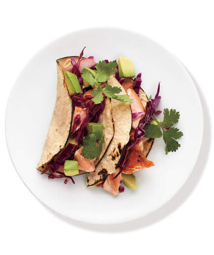 2.  Salmon Tacos With Cabbage Slaw.  See recipe  here .
