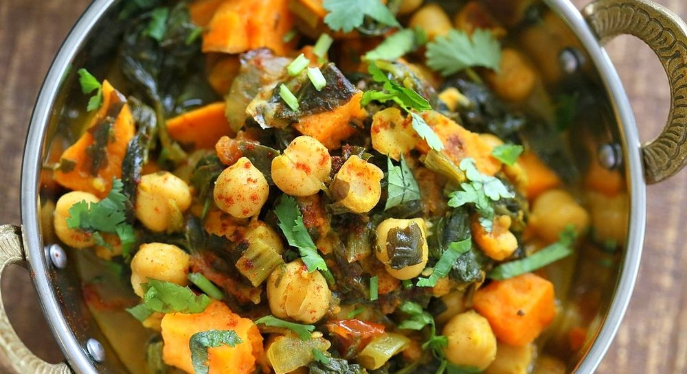 2.  Chickpea Sweet Potato Spinach Curry . See recipe  here .