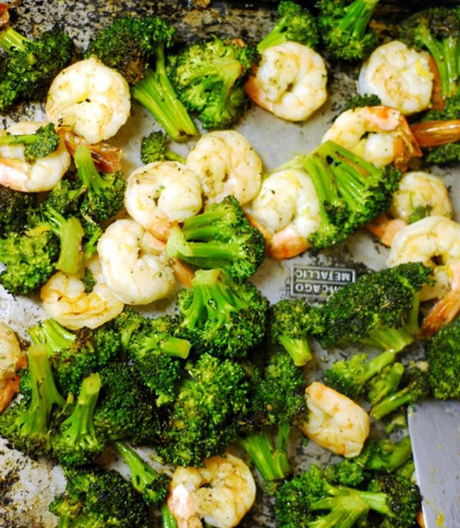 1.  Roasted Broccoli With Shrimp . See recipe  here .