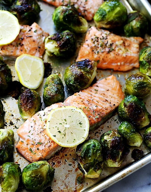 5.  Garlic Roasted Salmon with Brussels Sprouts . See recipe  here .